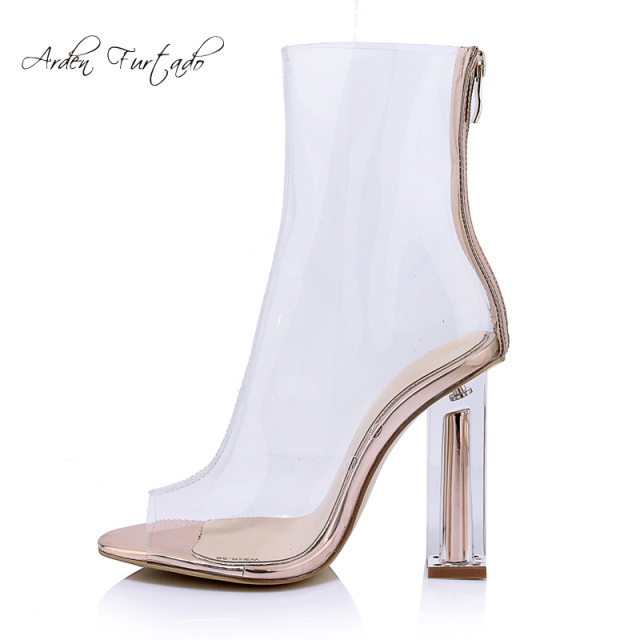 5993f688f5d Celebrity Black See Through PVC Short Women ankle Boots Plastic Clear Boots  Point Toe Block Heels Clear High Heels Top Quality