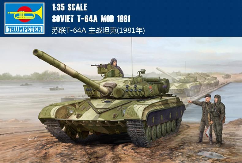 Trumpet 01579 1:35 Russian T-64A main battle tank (1981) Assembly model trumpet 09527 1 35 russian t 80ud main battle tank assembly model