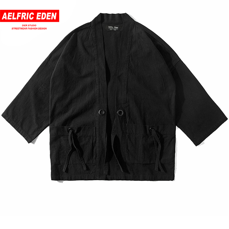 Aelfric Eden Thin Coat Japanese Style Retro Windbreaker Men Loose Mid Cotton Linen