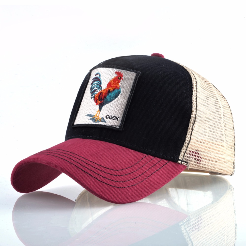 Cock Embroidery Baseball Cap Men Women Snapback Caps Breathable Mesh Hip Hop Hats Unisex Casual Eat Chicken Bone Casquette 1