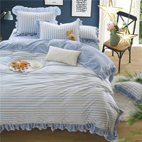 blue stripes Bedding sets 4Pcs Queen King Size flannel bedlinens Duvet Cover Bed skirt Pillow Cases
