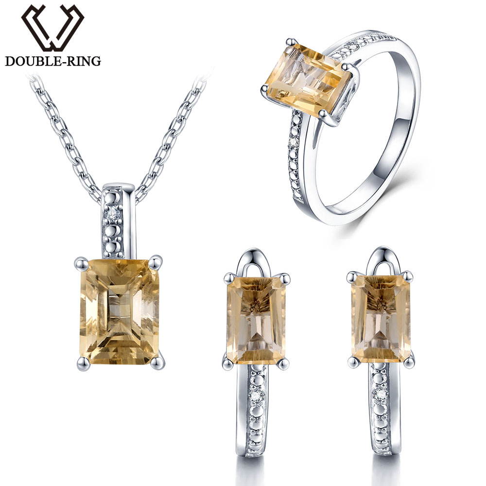 DOUBLE R Real Diamond Wedding & Engagement Jewelry Sets Women 925 Silver 4.45ct Natural Citrine Pendant Necklaces Ring Earring