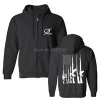 Spring Autumn Men Hoodies Fashion USA Gun Rifles Flag Army Military Print Sweatshirts Hip Hop Harajuku Streetwear