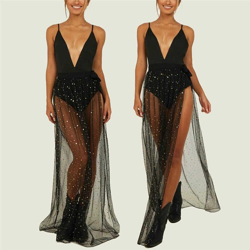 2019 nowych moda kobiet dorywczo przezroczyste bikini Cover Up Sheer Beach wysokiej talii Maxi długa spódnica wiązana Sarong szorty