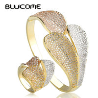 Blucome Luxury Three Color Big Leaves Wide Bangles Ring Sets Women Lady Large Bangle Party Jewelry Sets Europe Style Accessories