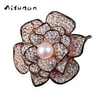 Aitunan Deluxe Enamel Natural Pearl Brooches For Women Romantic Clear Rhinestones Crystal Flower Brooch Wedding Bridal