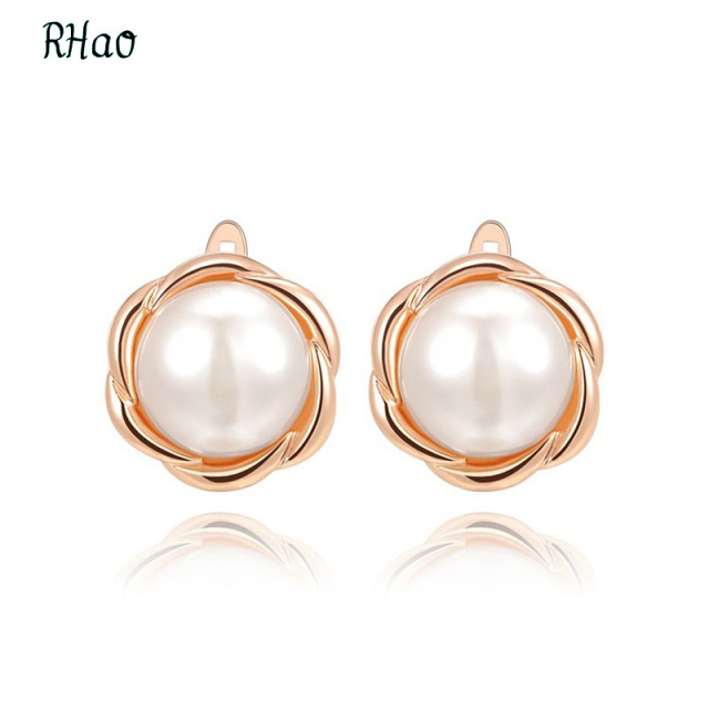 Aliexpress buy fashion indian jewelry rhao stud earrings fashion indian jewelry rhao stud earrings rose gold large pearl pendant flower earrings for women bride mozeypictures Gallery