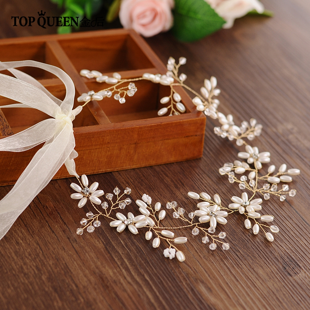 TOPQUEEN HP64 High-end Tiara Luxury Bridal Headband Handmade Crystal Bead Pearl  Hairband Wedding Dressing Crowns Accessory