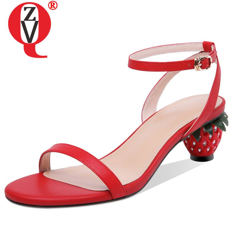ZVQ fashion strawberry heels genuine cow leather woman sandals brand 2019 summer lovely girl beige green