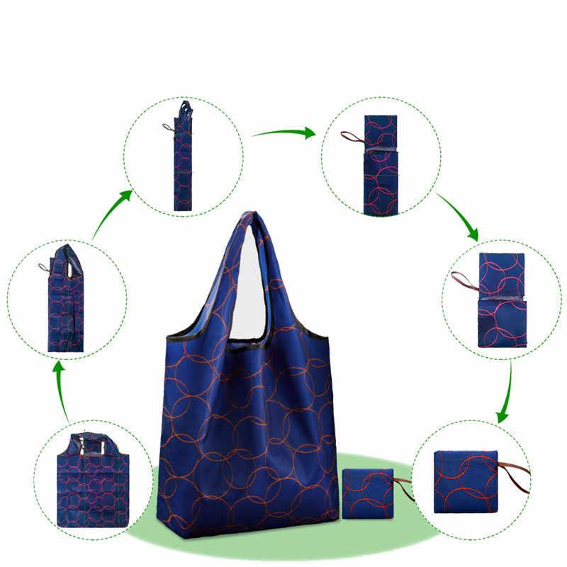 NOENNAME_NULL ايكو التسوق حقيبة كتفية للسفر أكسفورد حقيبة يد قابلة للطي قابلة لإعادة الاستخدام الكرتون KJ