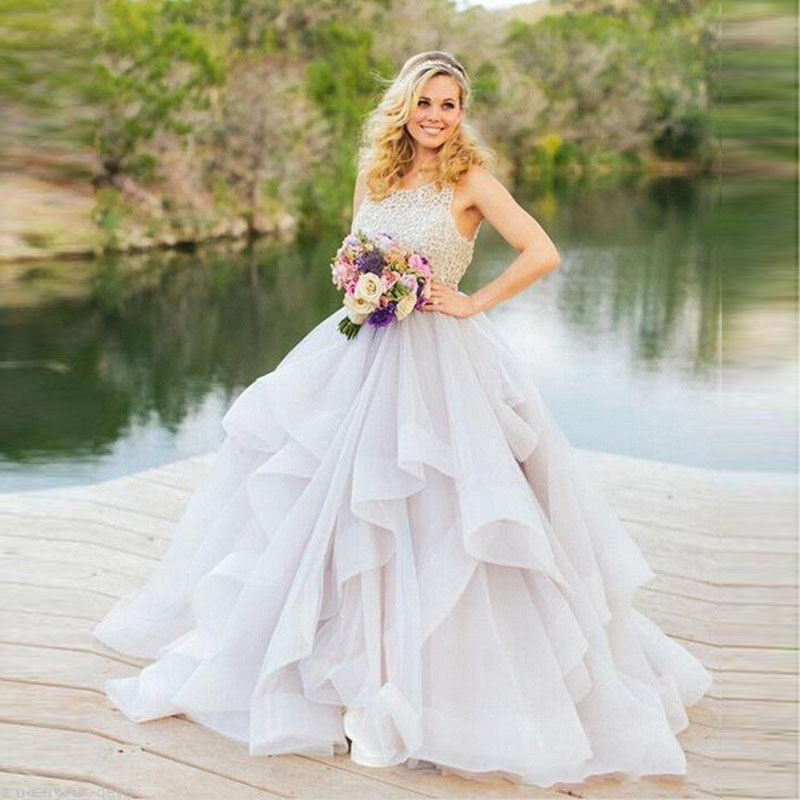 2016 Spring Modest Wedding Dresses Fashion Ball Gown Sexy