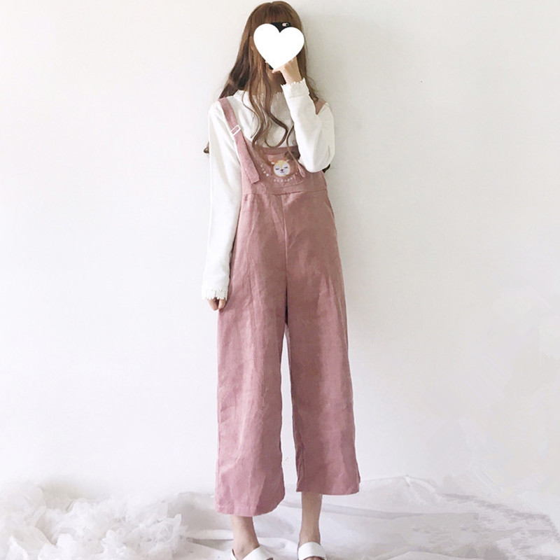 Japan Style Soft Sister Kawaii Lolita Wide Leg Jumpsuit Ankle Length Casual Loose Cartoon Embroidery Corduroy Suspenders Overall