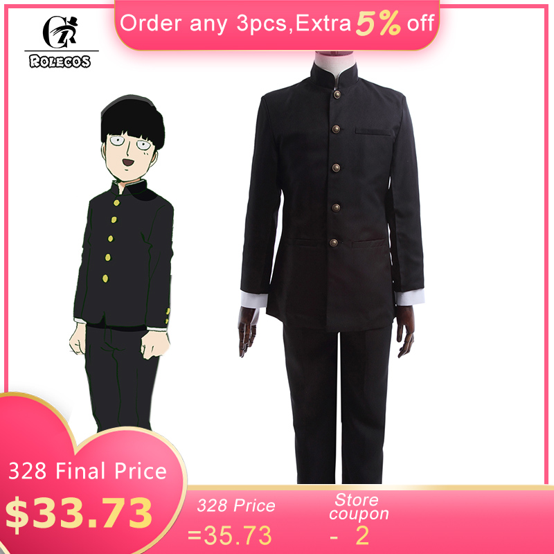 ROLECOS Anime Mob Psycho 100 Cosplay Costume Kageyama Shigeo Cosplay Costume Japanese School Boy Uniform Jacket Pants Full Set