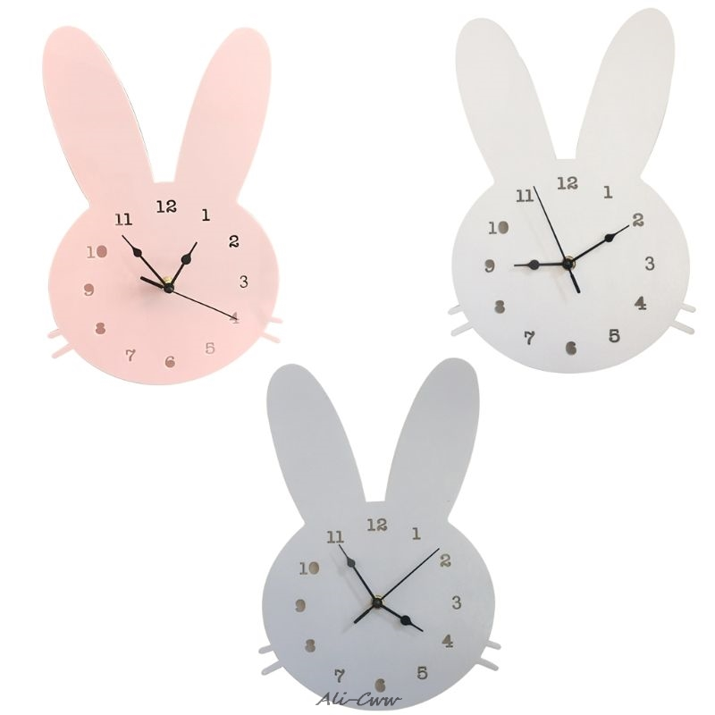 Wooden Rabbit Shaped Wall Clock Kids Room Decor Wall Clock Bedroom Background Home Decoration Accessories Modern Wall Wathes