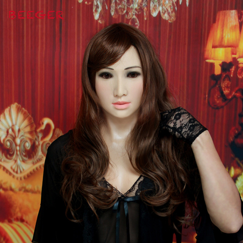 где купить new SF-A3 costume mask silicone breast forms Virtual skin, you can see the beautiful head can breathe even chest dressing mask. по лучшей цене