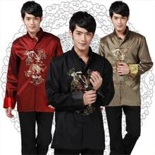 Satin Jacket Men Spring Dragon Jackets Mandarin Collar Men's Cheongsam Tops Plus Size Red Wedding Jackets ButtonThin Jacket