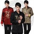 Traditional Chinese Tops Men Silk Dragon Print Tang Suit  Mandarin Collar Cheongsam Tops Plus Size Red Wedding Jackets Thin