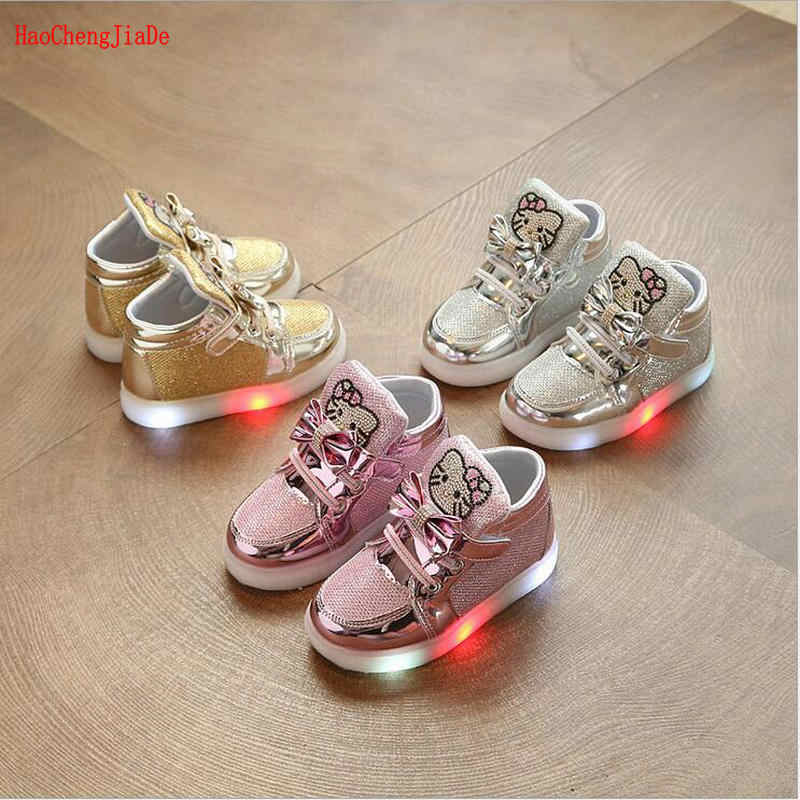 2aa52601bac3 fashion Children Glowing sneakers With light kids shoes girls magic belt  light casual shoes baby hello