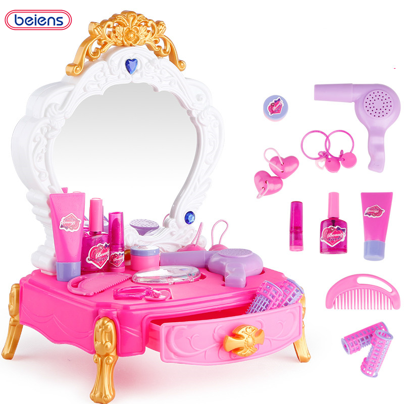 Beiens 13pcs Cute Children Makeup Set Hairdressing Make Up Kids Girls  Simulation Toys Plastic Baby Toy Dressing Table Toy