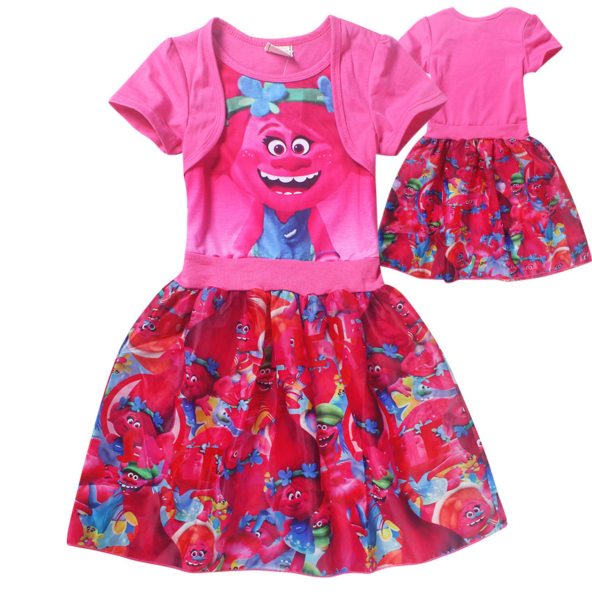 db610f124cb 2017 Pop Cartoon Trolls Printed Dresses for Girl Summer Clothes Kids Cotton Clothing  Children One piece Dress Jumper Vestidos-in Dresses from Mother   Kids ...