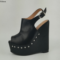 Yifsion New Women Platform Sandals Sexy Rivets Wedges High Heel Shoes Open Toe Black Orange Party Shoes Women US Plus Size 5 15