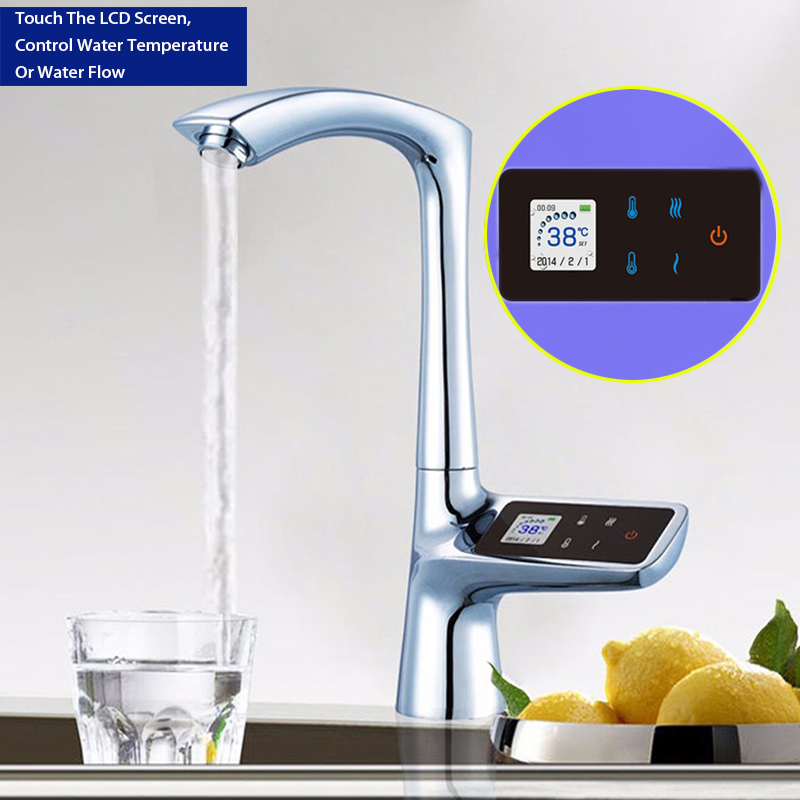 JMKWS 360 Smart kitchen faucet Single Hole LCD Display Touch Screen Thermostatic kitchen Faucets Digital Water Mixer Tap Fashion lcd display touch screen smart thermostat sink faucet electric tap mixer digital thermostat faucet