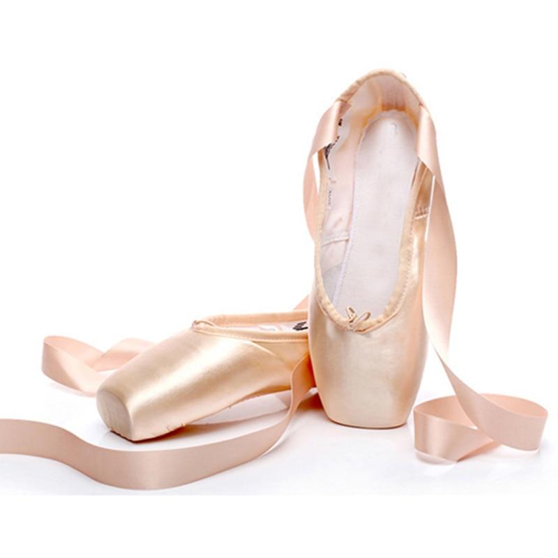 Pointe Shoes Satin Professional Dance Shoes Canvas Pointe Shoes Silicons Toe Pads Ballet Slippers Kids Ballet Shoes Women