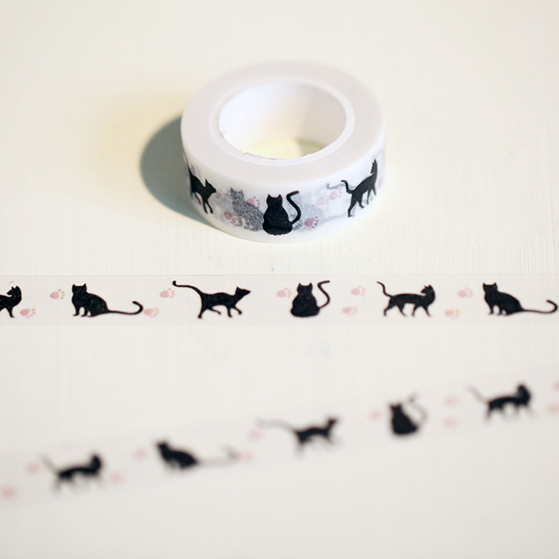 1.5cm*10m Hallowmas Cat Washi Tape Diy Decoration Scrapbooking Planner Masking Tape Adhesive Tape Kawaii Stationery 10m 15mm creative colored dots washi tape diy decoration scrapbooking planner masking tape kawaii stationery adhesive tape 1 pcs