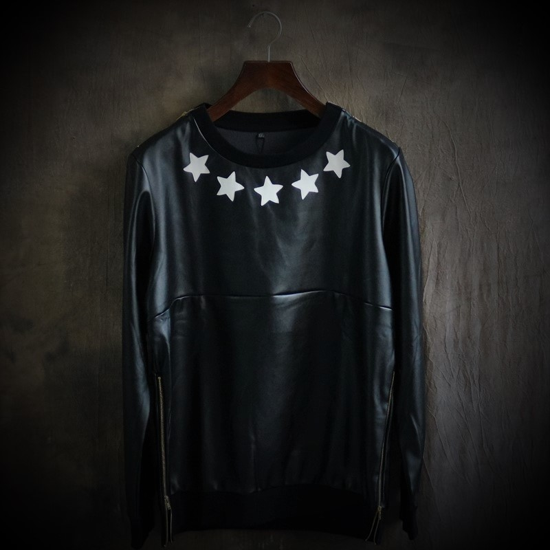 Men's hip-hop sets all leather PU The round collar loose Big yards...