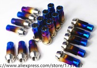 5pcs Titanium alloy car nut M12*1.5*45mm model general roasted blue M12 Wheel nuts