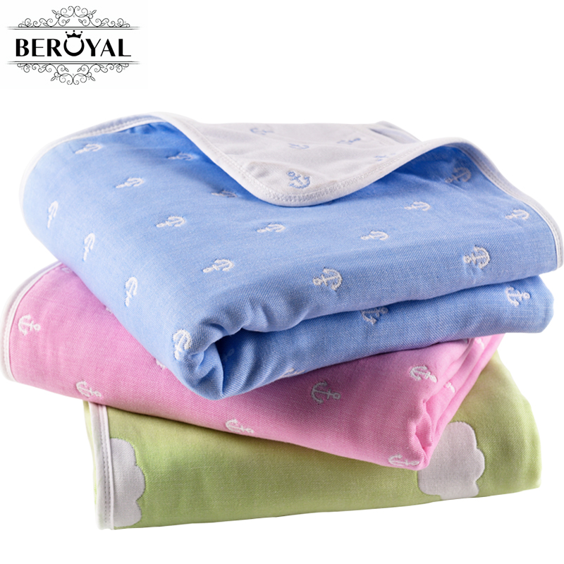 Six Layers Cotton Throw Blankets Kids Blanket for Beds Cute Kids Bedding Sets for Children Girls and boys 110X110cm Multi-color