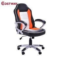 COSTWAY Racing компьютерных игр кресло офисное кресло с высокой спинкой Лифт стул вращающееся кресло офисной мебели HW52440