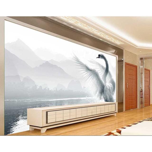 2017 HD Custom Mural Wallpaper 3D Swan Living Room Sofa Backdrop Wall Paper Modern Minimalist Bedroom