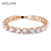 Stunning Anniversary Party Chain 18k Gold Plated White Crystal Charm Bracelets Womens Bracelet Bangle Free Shipping