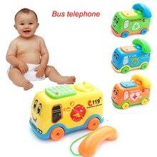 HINST детские игрушки музыка мультфильм автобус телефон образовательная развивающая площадка после тяги линии JAN4