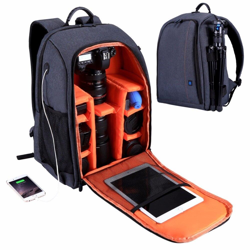 лучшая цена PULUZ Outdoor Portable Waterproof Scratch-proof Dual Shoulders Backpack Padded Shockproof Camera Case Bag SLR Camera Soft Bag