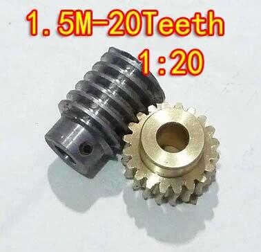 1.5 M-20 T rapport de réduction: 1: 20 vis sans fin de cuivre métal réducteur à vis sans fin pièces de transmission-vitesse trou: 10mm tige trou: 10mm