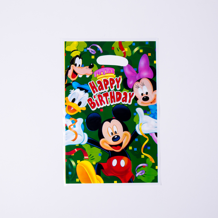 6Pcs/Pack Gift Bag Lovely Mickey Mouse Theme Party Plastic Bag Girls Birthday Favors Party Supplies Souvenir