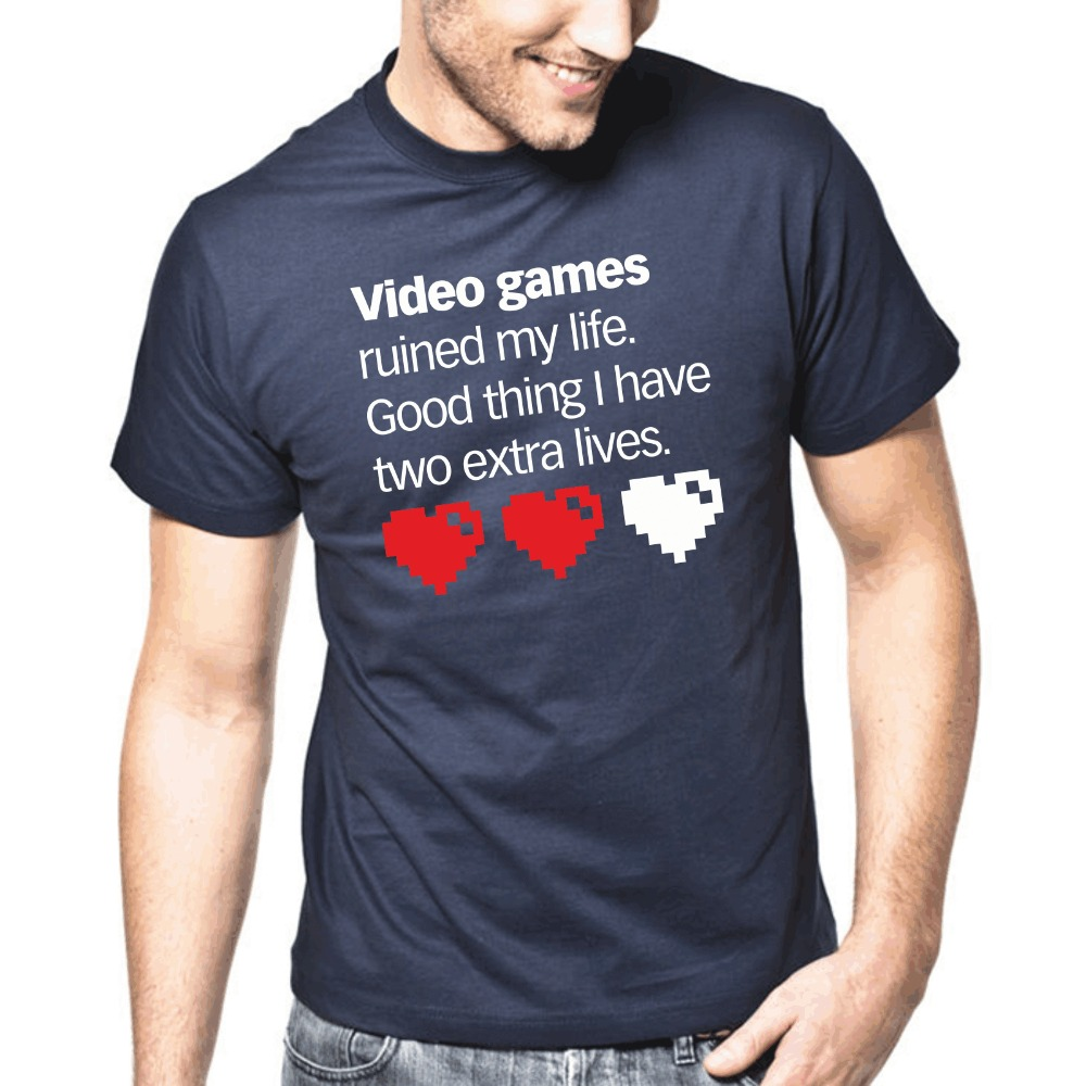 Teenage Natural Cotton Printed Mans Unique Cotton Short Sleeves O-Neck T Shirt Video games ruined my life. Good thing Tee shirts