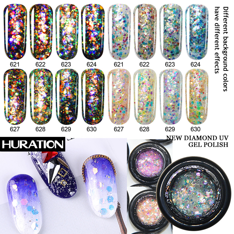 Huration Flash Diamond New Nail Gel Glitter UV Gel Nail Polish Shine Top Base Coat Shimmer Varnish Shiny Sequin Gel Lacquer