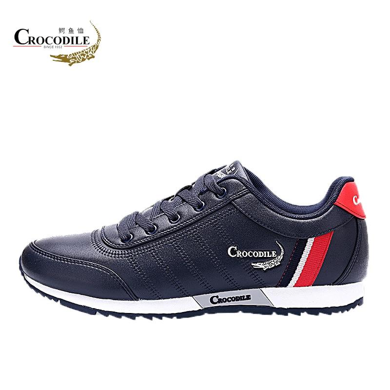Crocodile Men Athletic Jogging Shoes For Men's Breath Sport Shoes Men Leather Run Sneakers Black Male Light Walking Shoes Sports