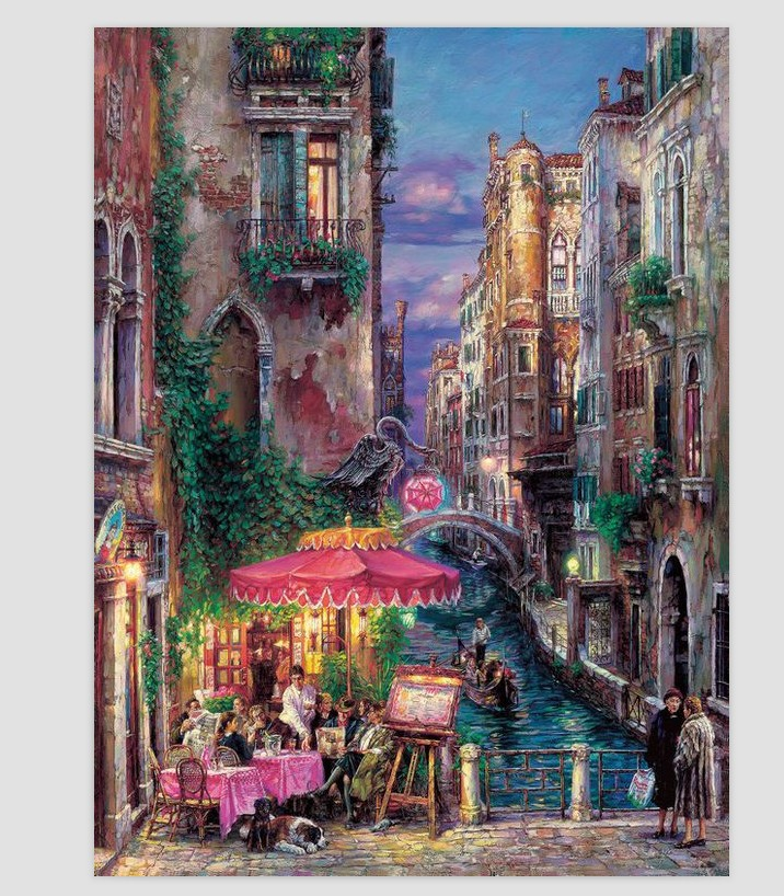 Romantic Town Scenic House Bedroom Embroidery Crafts Needlework 14CT Unprinted DMC DIY Quality Cross Stitch Kits
