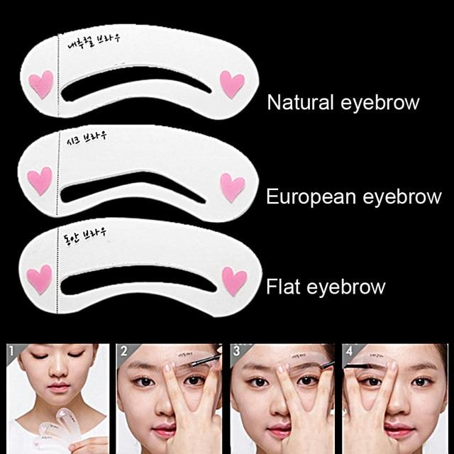 3Pcs/set Eyebrow Stencils 3types Reusable Eyebrow Drawing Guide Card Brow Template DIY Make Up Tools 1