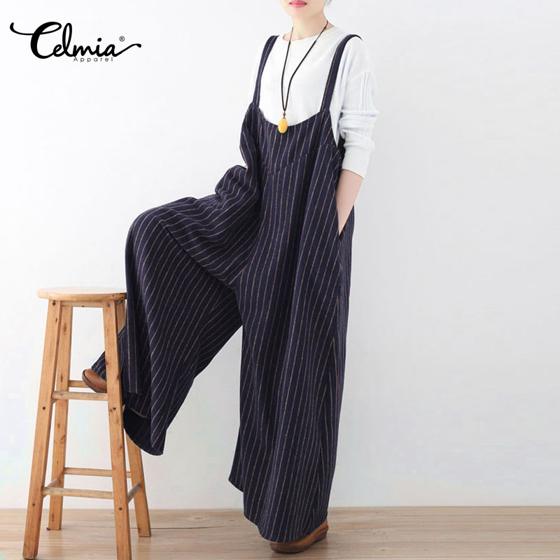 Celmia Women Jumpsuit 2018 Summer Vertical Striped Long Playsuit Sexy Backless Rompers Casual Loose Oversized Overalls Plus Size