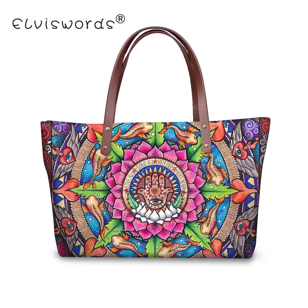 8dbd22ea4075 ELVISWORDS Hamsa Fatima Hand   Mandala Flower Handbags For Women Top-handle  Shoulder Bags and