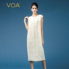 4b1b53bbd4b38f VOA Effen Wit Office Dames Zijde Jacquard Jurk Plus Size Elegante Vintage  Vrouwen Lange Jurken Korte