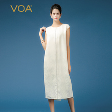 Luxury elegant long dresses solid beige short sleeve o neck silk dress VOA 38mm heavy and dobby mid calf A7366