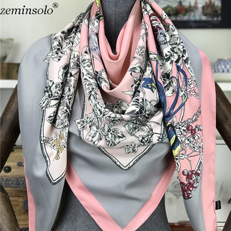 2019 130*130cm Scarves For Women Floral Printed Silk Scarf Large Square Scarves Female Bandana Fashion Hijab Kerchief Shawls