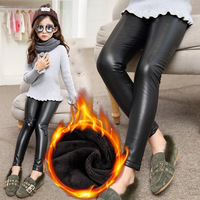 Girl S Stretchy Leggings 2017 New Winter Black Velvet Pants Teenagers Thicken Star Pattern Warm PU