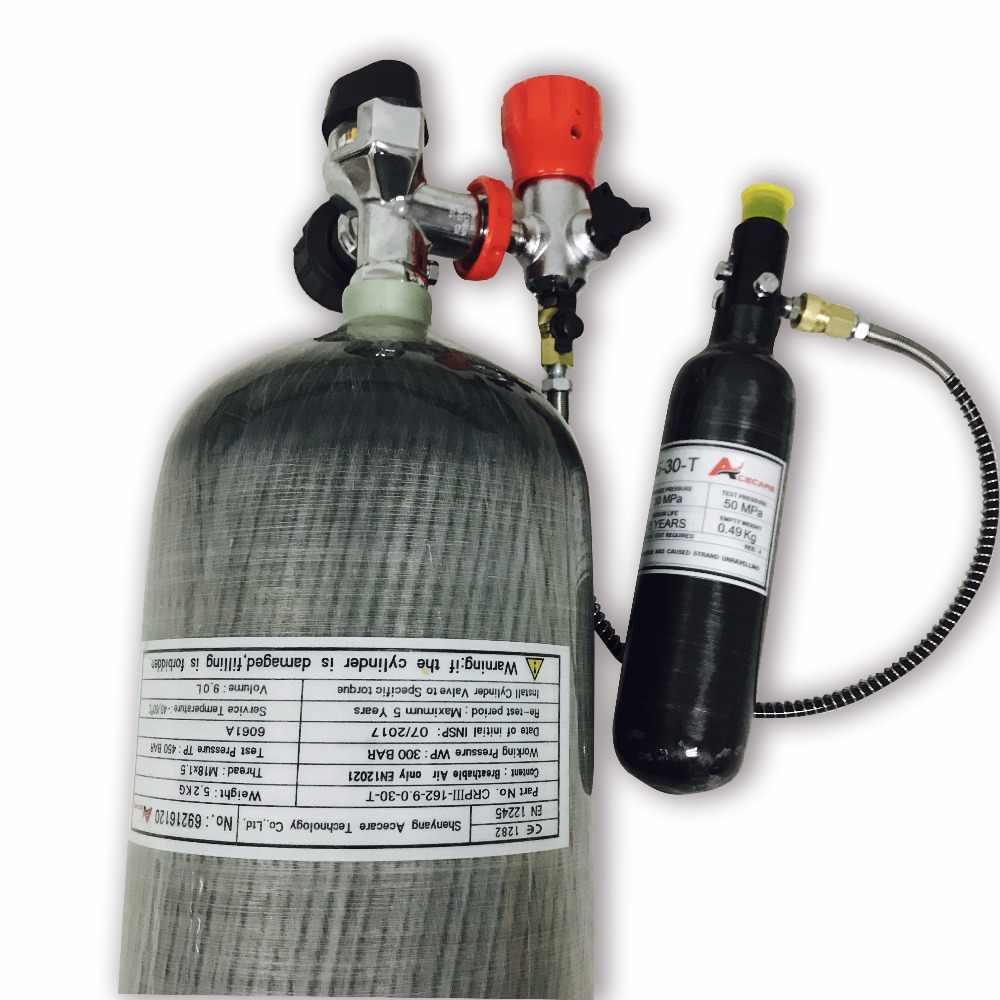 Cilindro de fibra de carbono Acecare 9L/tanque de Paintball 0,35 l/válvula/estación de llenado/regulador 4500Psi buceo/tanque Pcp de caza